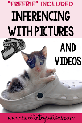 This blog post is about Using Pictures and Videos to Teach Inferencing. It includes a FREE inferencing resource. Students will love this activity as they observe and use their prior knowledge as they infer what is going on in the picture. #inference #readingstrategies