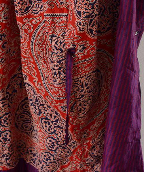 道行コート FUNS ジャパンヴィンテージ アンティーク着物 60~70年代 Kimono Japanese Vintage Michiyuki Coat Stripe Antique
