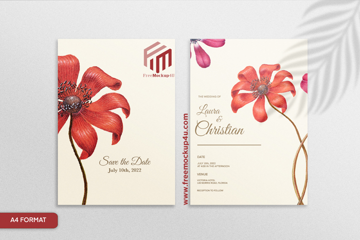 Minimalist Double Sided Floral Wedding Invitation With Red Flower