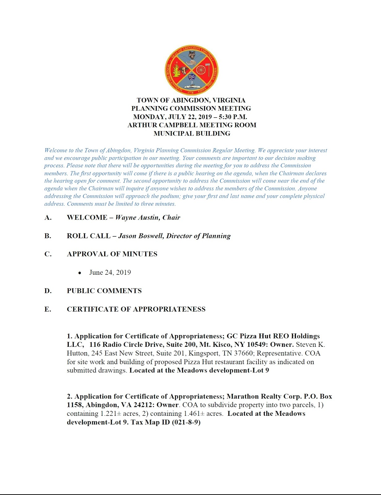 Town Of Abingdon Virginia Planning Commission Agenda For
