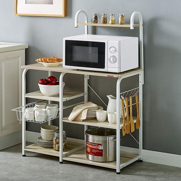 "Mr IRONSTONE Kitchen Baker's Rack Utility Storage Shelf 35.5"" Microwave Stand 4-Tier+3-Tier Shelf for Spice Rack Organizer Workstation (Light Beige)"