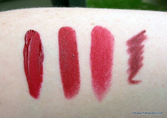 swatches of Stila Fiery, Urban Decay Bad Blood, NYX Perfect Red, and Rimmel liner in Ravish.