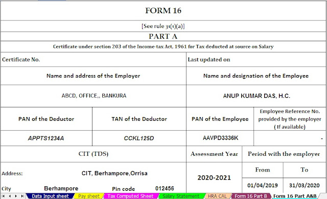 INCOME TAX DEDUCTIONS U/s 80D FOR F.Y 2019-20 & A.Y 2020-21, WITH AUTOMATED INCOME TAX ALL IN ONE TDS ON SALARY FOR WEST BENGAL GOVT EMPLOYEES FOR F.Y. 2019-20 AS PER ROPA 2019 5
