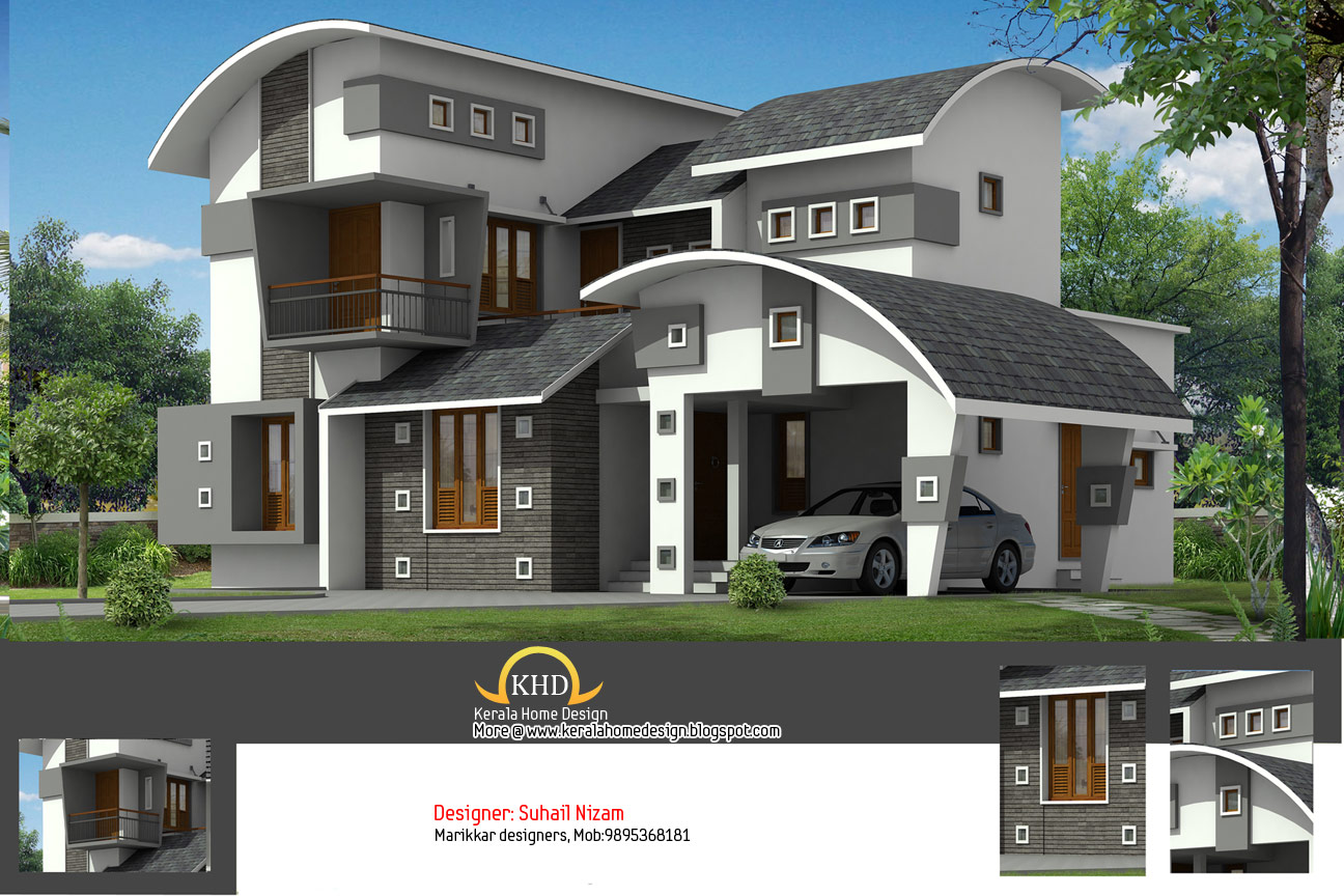 House plan and elevation 2377 sq ft kerala home design for Small house elevation in india