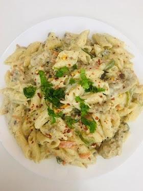 Chicken white sauce pasta