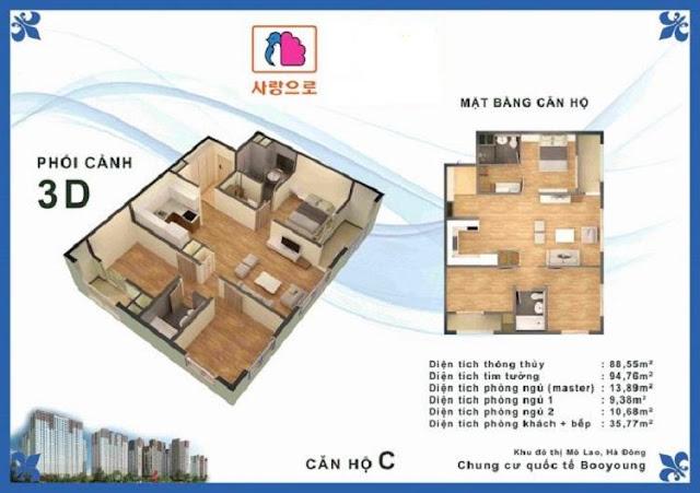 Căn hộ C chung cư Booyoung Vina Mỗ Lao