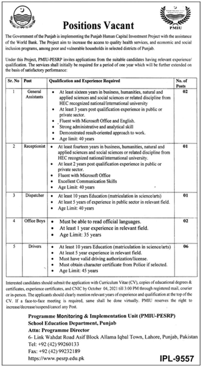 PESRP Punjab School Education Department Jobs 2021 in Pakistan