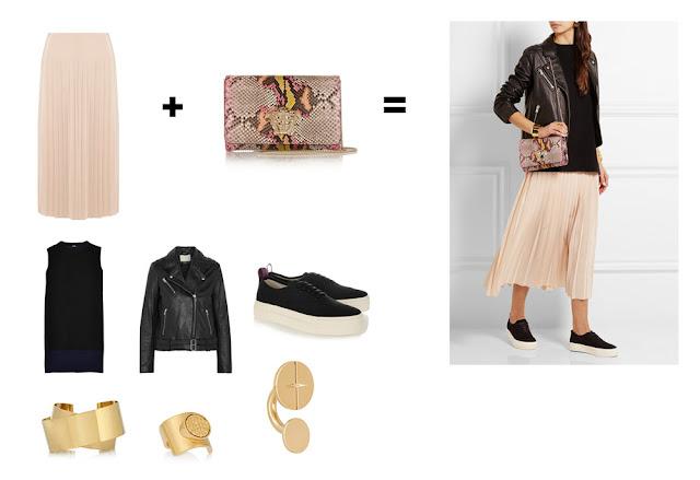 Сочетание розовой юбки и сумки с розовым принтом