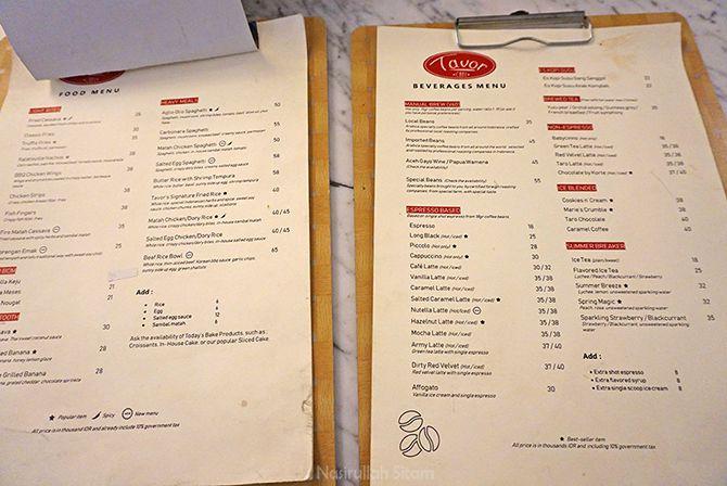 Daftar harga dan  menu di Tavor Cafe Sunter