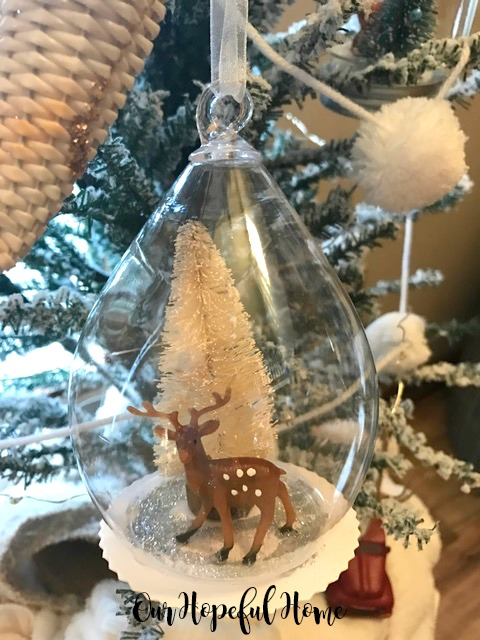 clear diy ornament snow globe bottle brush tree faux snow mini deer