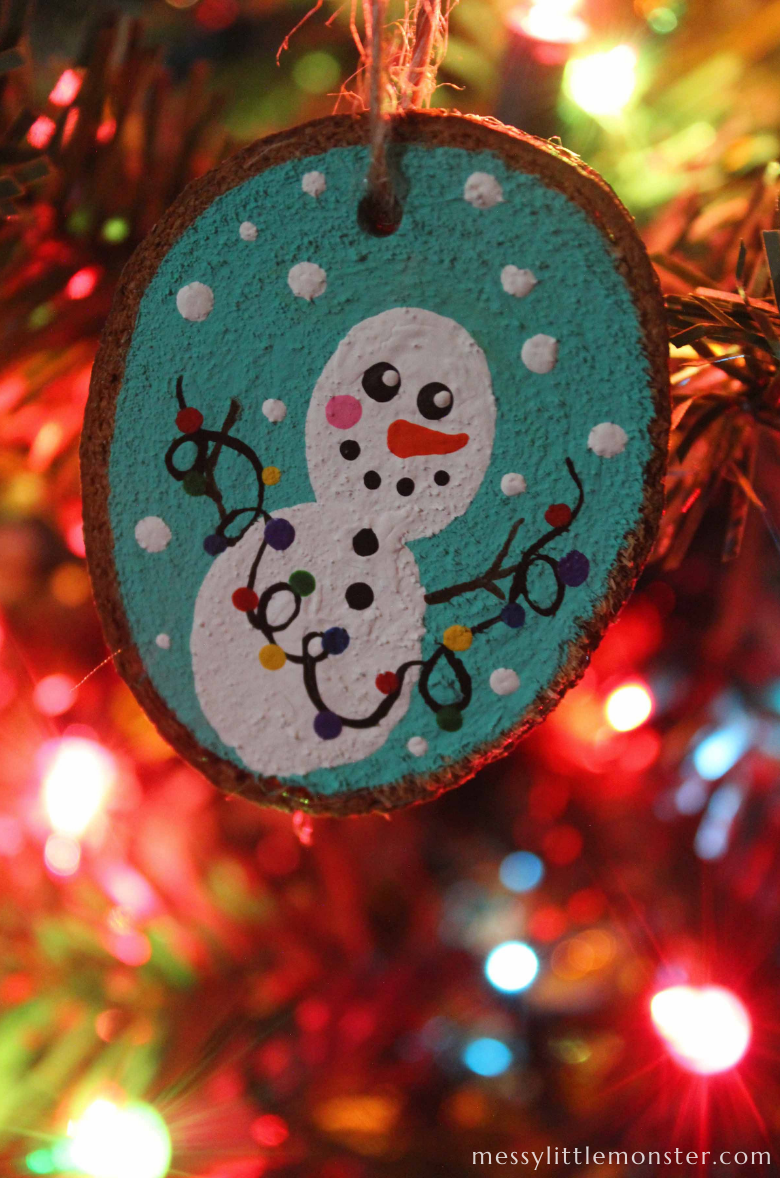 fingerprint snowman wood slice ornaments