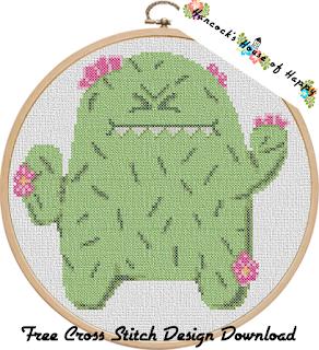 Cute Grumpy Cactus Cross Stitch Pattern