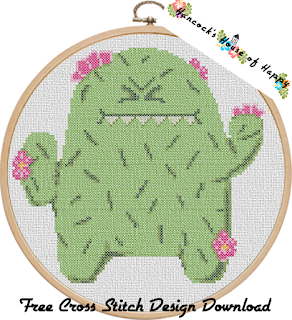 silly grumpy cactus cross stitch pattern.