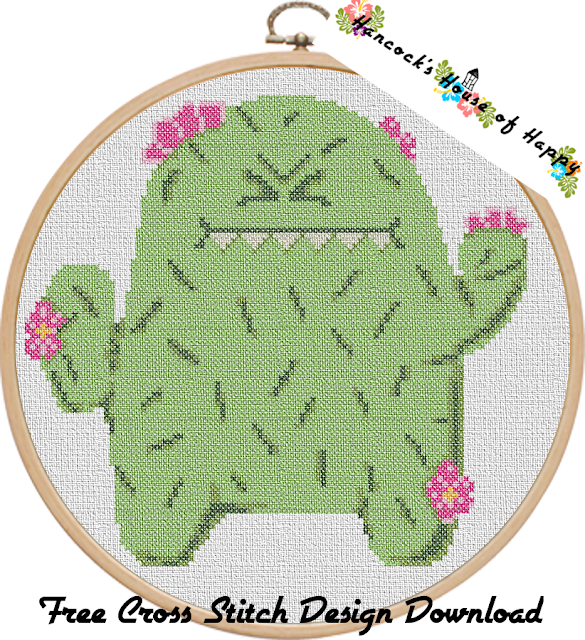 Free Cactus Cross Stitch Pattern. Cute Grumpy Cactus to Cross Stitch.