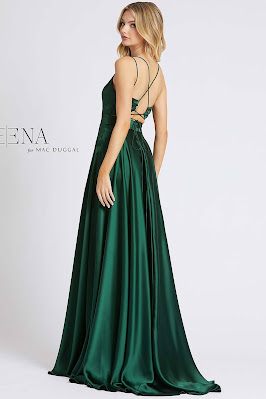 V-neckline A-line For Ieene Mac Dugga Evening Dress Dark Green color Back side
