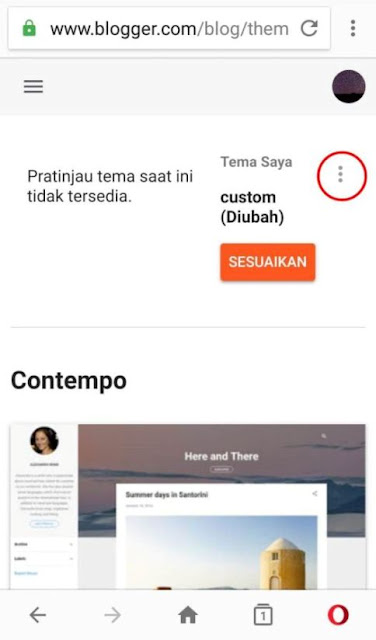 Menu Tema di Dashboad Blogger Baru