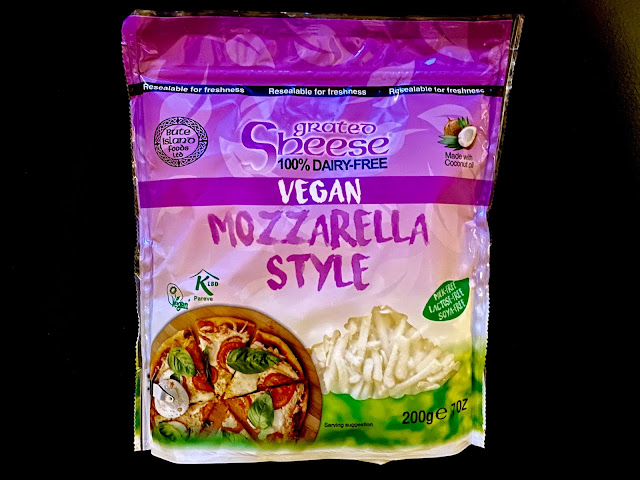 A packet of the Bute Island foods ltd Grated Vegan and Dairy Free Mozzarella Style Sheese (or cheese)