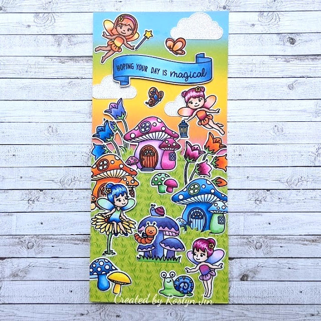 Sunny Studio Stamps: Garden Fairy Home Sweet Gnome Banner Basics Customer Card by Roslyn Jin