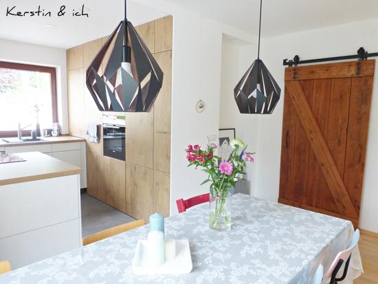 Küche vorher nachher offene Küche DIY-Barndoor
