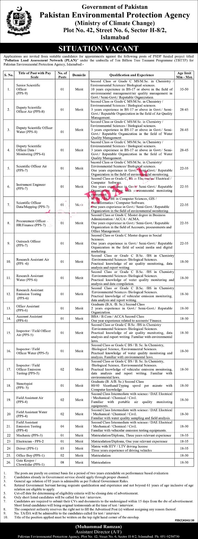 latest Jobs in Pakistan Environmental Protection Agency 2021