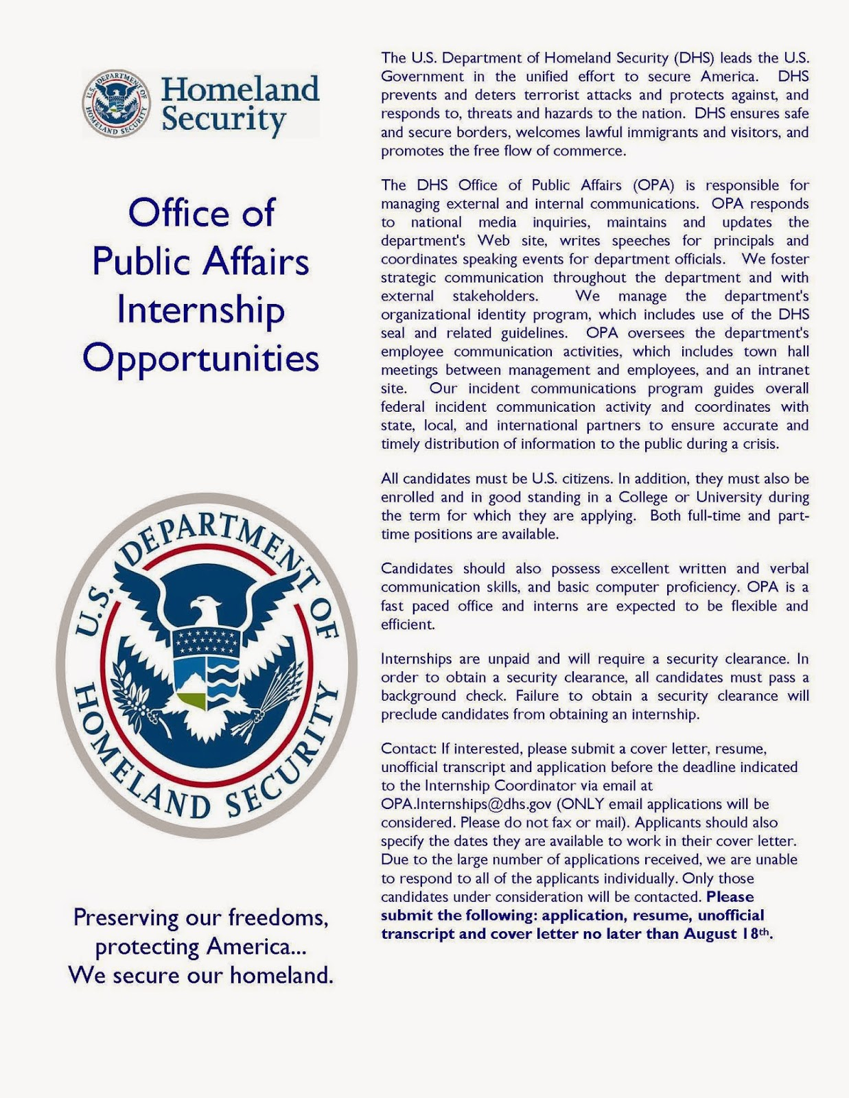 CCJSUSG News and Updates US Department of Homeland Securitys DHS Internship Opportunity