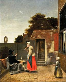 Un hombre fumando y una mujer bebiendo cerveza en el patio, de Pieter de Hooch