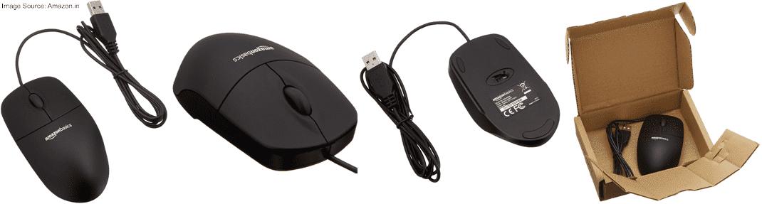 AmazonBasics Wired Mouse (Black)