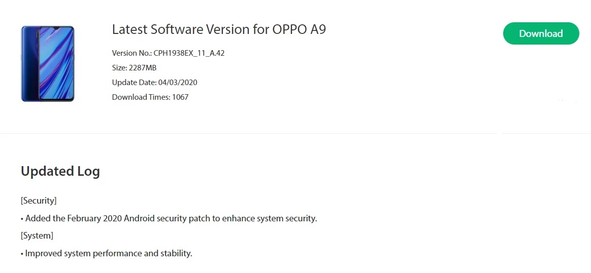 Oppo A9 February 2020 Security Patch  Update Started Rolling Out [CPH1938EX_11_A.42] - Realme Updates