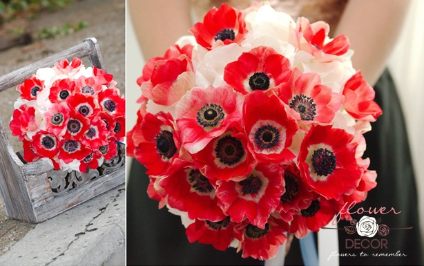 Flower Decor Nunta Buchet Hortensie Alba Si Anemone Rosii