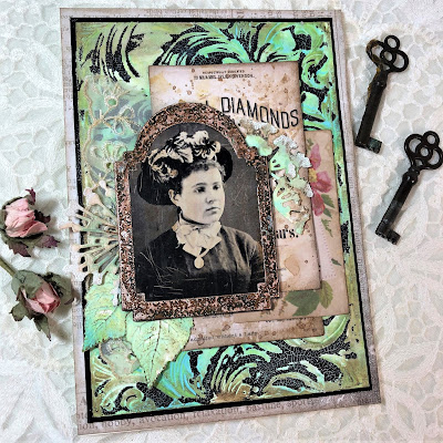 Frilly and Funkie https://frillyandfunkie.blogspot.com/2019/04/saturday-showcase-seth-apters-baked.html Spring Card Tutorial with Tim Holtz 3D Embossing Seth Apter Baked Velvet by Sara Emily Barker 11