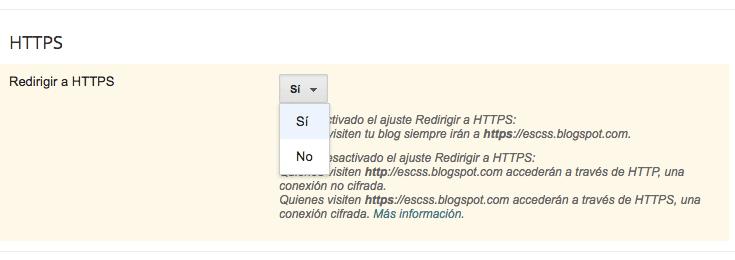elección del tipo de protocolo a usarse en Blogger