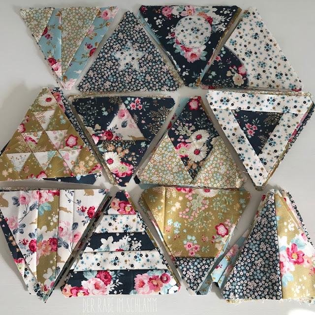 Der Rabe im Schlamm, Quilt, Patchwork, Triangle Quilt, Zenchic Quilt Along, Bernina, Tilda, Memory Lane Fabric