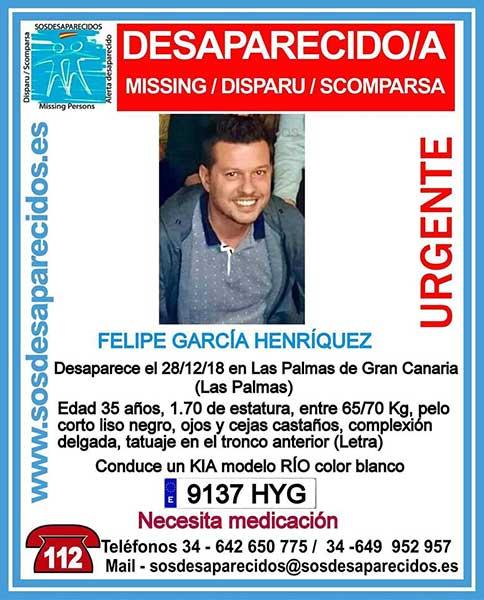 Buscan en las Palmas de Gran Canaria  a Felipe García Henríquez, hombre de 35 años que necesita medicación