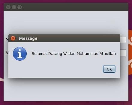 Output yang berupa pesan Dialog