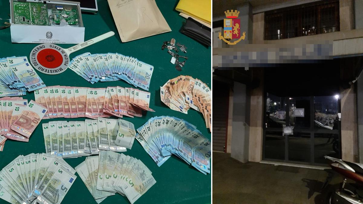 Sala giochi abusiva centro città Catania Polizia