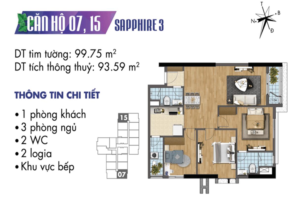 Mặt bằng căn hộ 07 và 15 tòa Sapphire3