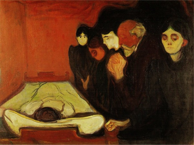 By The Death Bed, 1896 por Edvard Munch