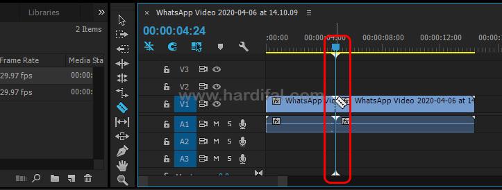 Arahkan pada video timeline