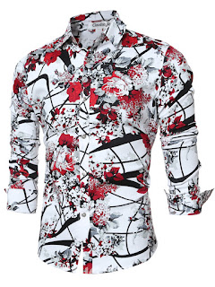 Quality Vogue Print Long Sleeve Slim Men's Shirt