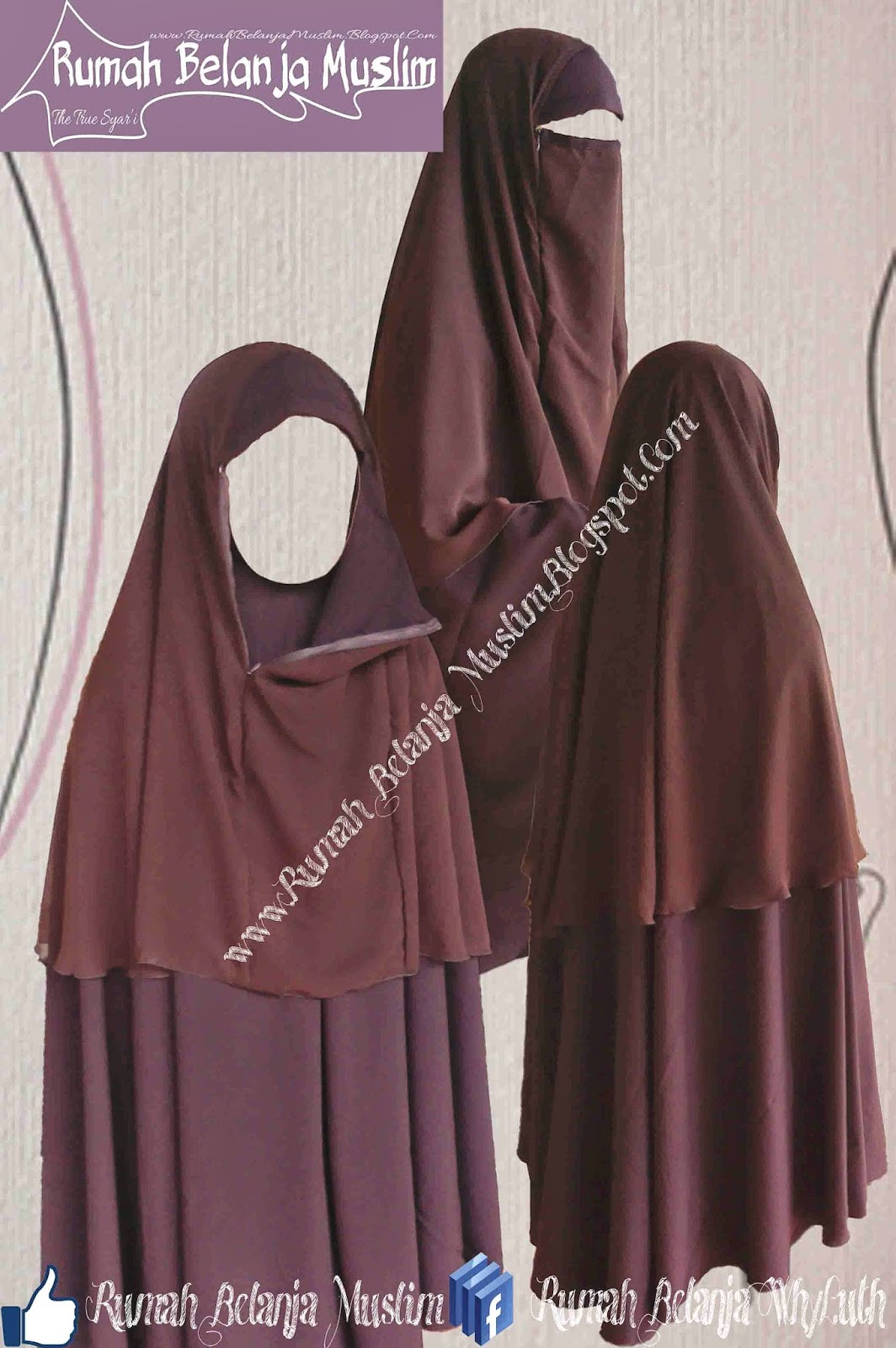 Jilbab Cadar Safar Rits Coklat