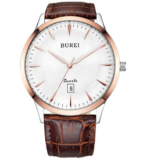 BUREI Men's Thin White Dial Quartz Wrist Watches with Date Display Sapphire Crystal Lens Brown Leather Strap   £36.99