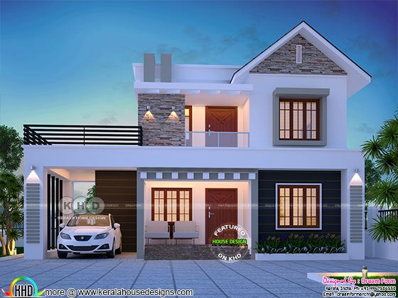 1740 square feet 3 bedroom cute Kerala home