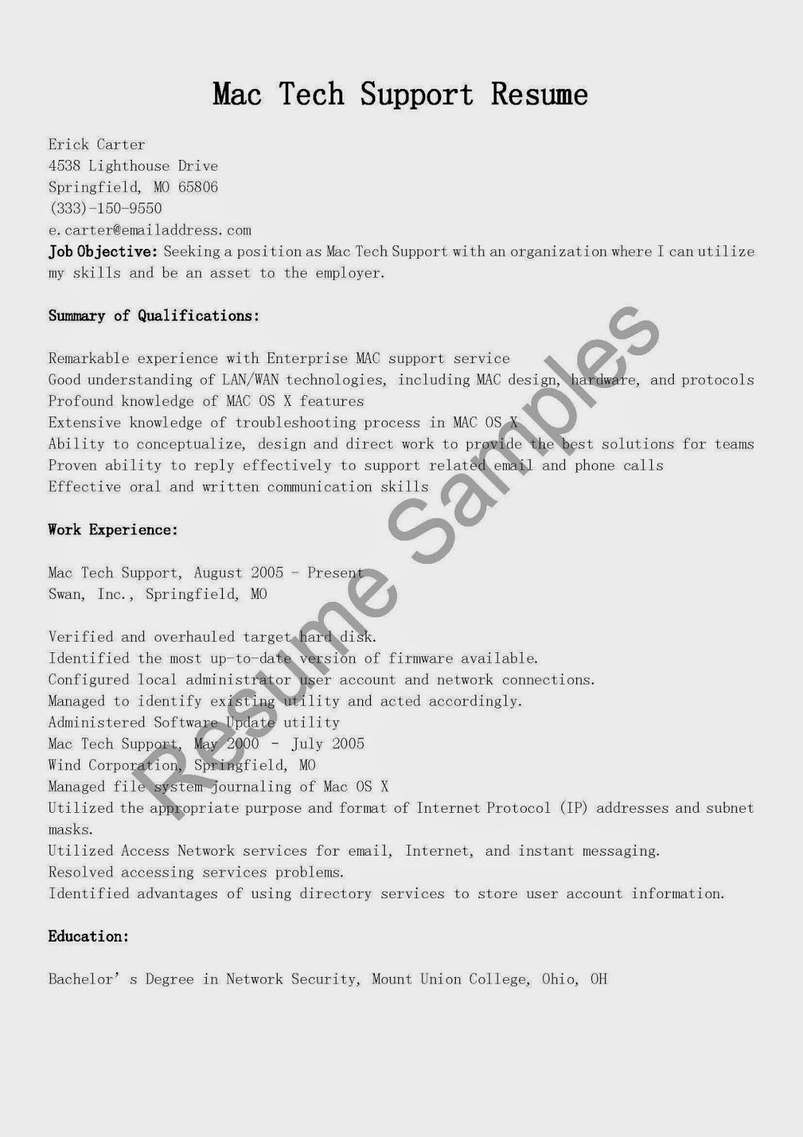 Resume Samples Mac Tech Support Resume Sample