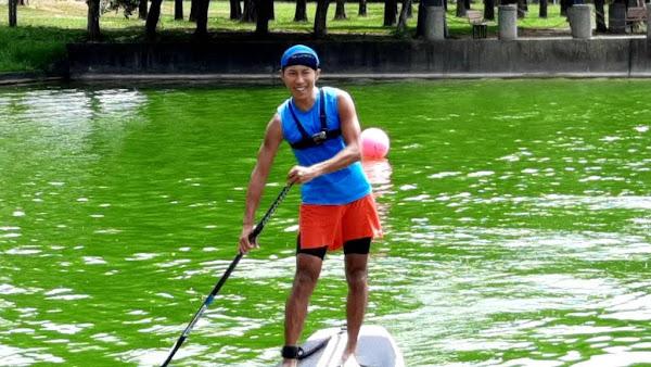 明道大學水域運動基地 超馬勇者陳彥博挑戰SUP立槳衝浪