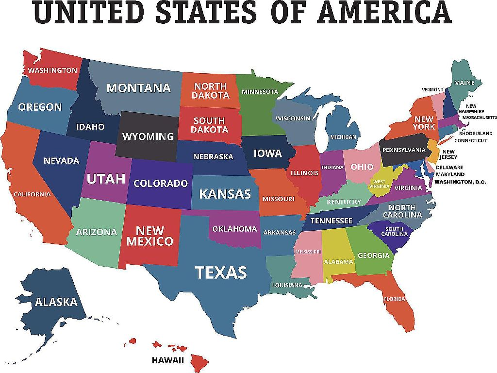 united states map by states