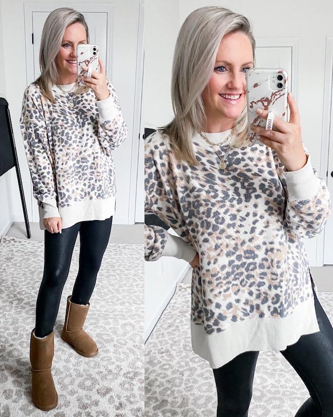 Aerie leopard print sweatshirt