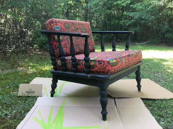 Vintage Chair Refinishing Before, 1786 red fabric