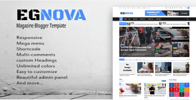 Egnova v1.0 Pro Blogger Template - Responsive Blogger Template