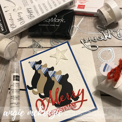 By Angie McKenzie for Stampin' Dreams Blog Hop; Click READ or VISIT to go to my blog for details! Featuring the Dog Builder Punch, Merry Christmas to All Stamp Set, Merry Christmas Dies, So Many Stars Dies and Mini Curvy Keepsakes Box Dies by Stampin' Up!; #christmascards #dogs #dogbuilderpunch #merrychristmastoallstampset #merrychristmasdies #minicurvykeepsakesboxdies  #naturesinkspirations #makingotherssmileonecreationatatime #cardtechniques #stampinup  #3dprojects