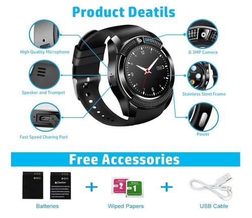 Burxoe Touchscreen with Camera Bluetooth Smart Watch